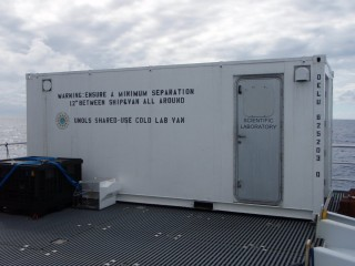 The mobile laboratory on board that is kept at four degrees Celcius. This is where the samples are preserved once they come on board.