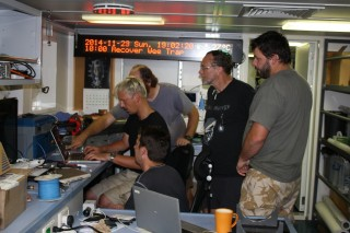 The scientists on board review the daily footage.
