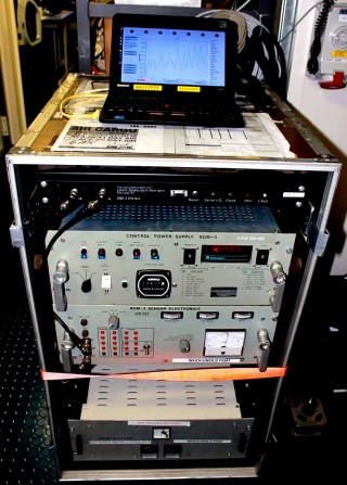 The gravimeter, leased from Woods Hole Oceanographic Institution, installed in Falkor's main science lab.