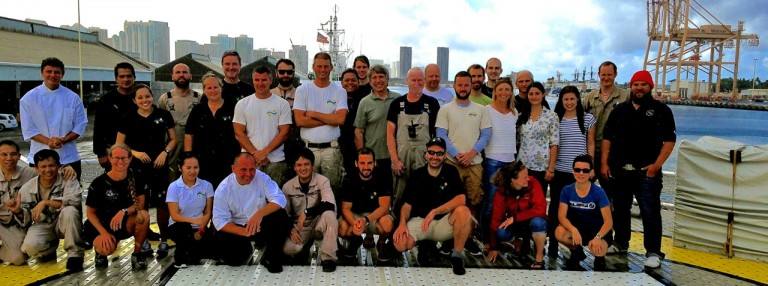The team photo for the second Papahanaumokuakea Marine National Monument mapping expedition.