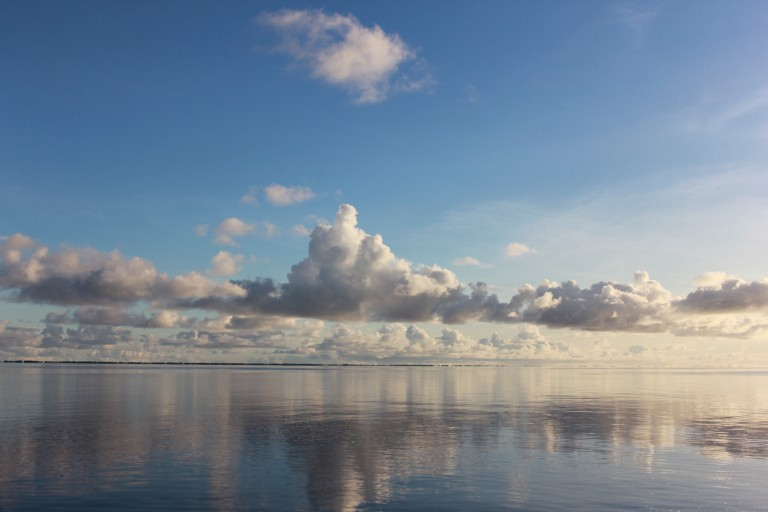 Calm seas in the protect atoll of Majuro in the Marshall Islands.