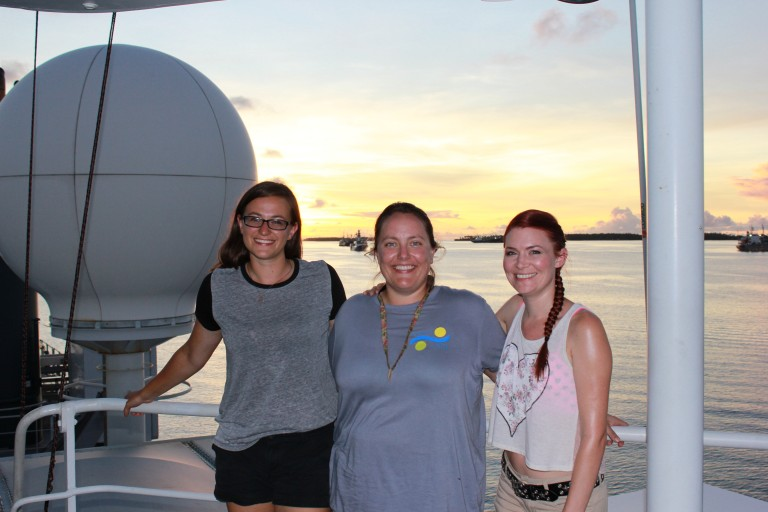 Lead Marine Technician Colleen Peters with student opportunity participants Julianna and Jennifer.
