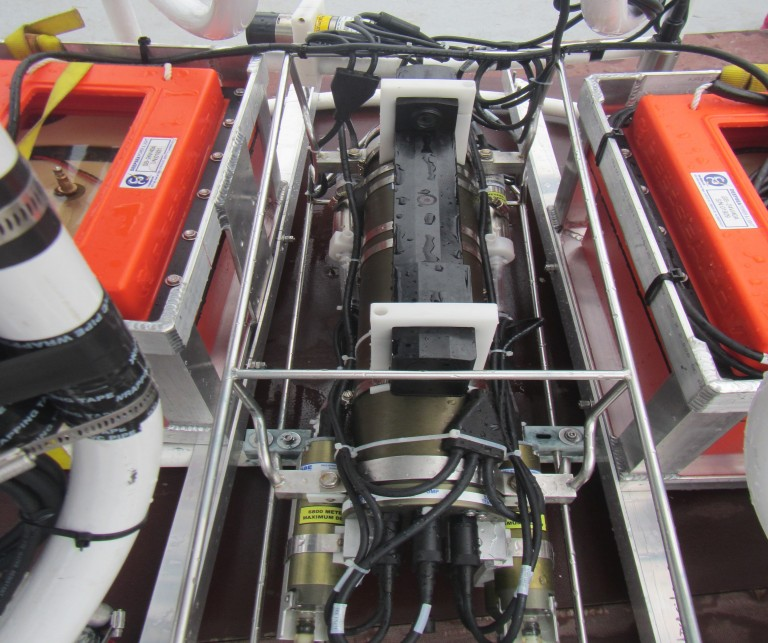 Big Rosie - the CTD instrument mounted on the large rosette. The orange boxes are the batteries for the ADCPs.