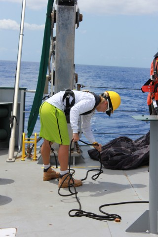 Graduate student Astrid Leitner, assists with the line while waiting for MOCNESS deployment.