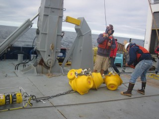 The Tasman team uses moorings like this one that typically include dozens of temperature sensors at varying depths, and multiple current profilers and conductivity, temperature, depth (CTD) profilers.
