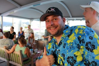 SOI marine technician and cruise coordinator Leighton Rolley gives the welcome barbeque food a big thumbs up.