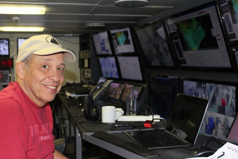 Dana Yoerger at the helms of AUV Sentry, tracking its path at depths of 5000 m.