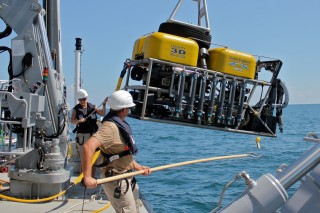 ROV Global Explorer MK3 is recovered after a dive.
