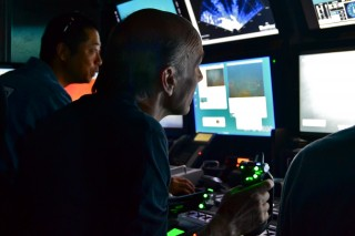 Toshi Mikagawa (left) and Jamie Sherwood at the ROV controls.