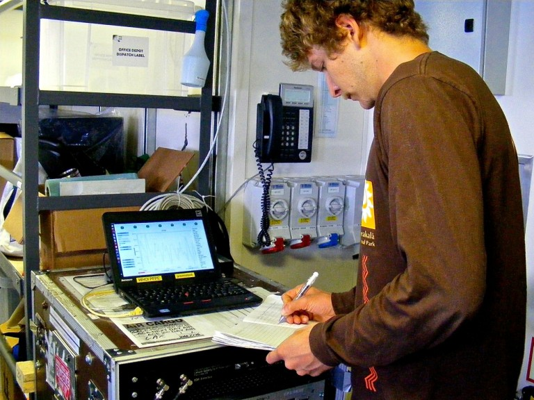 Jonathan Tree logging data from the gravimeter.