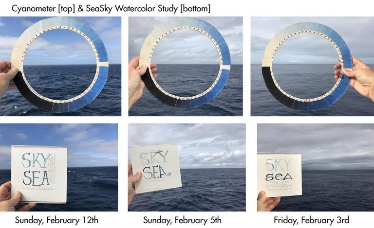 The Color Study Records Blues Within Lettering And Includes Notes In Pencil About Wind Waves Time Position Lat Long
