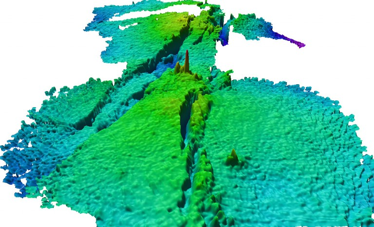 Bathymetry from the Kilo Moana vent field, mapped in 2005. Each grid cell in this image is 25 cm.