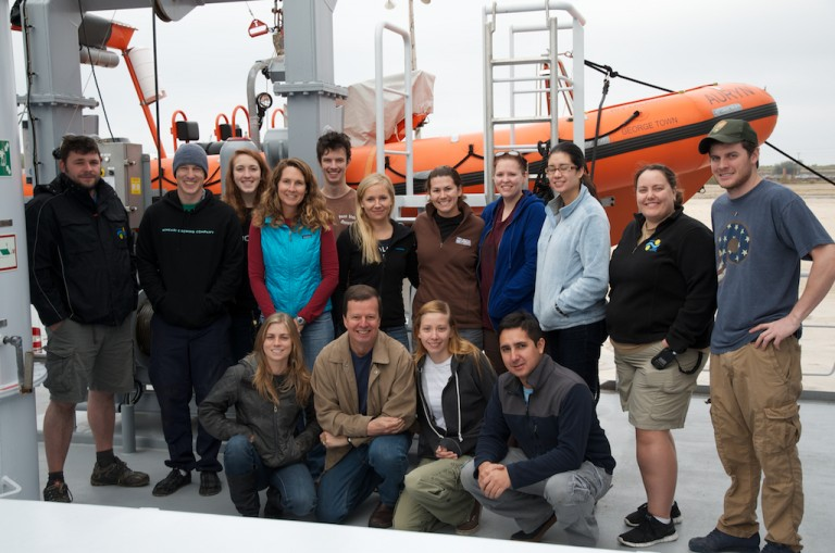"Leg 2 research team of the ""Long-Term Effects of the Deepwater Horizon Oil Spill"" project. Front row: Erin Becker, Chuck Fisher, Danielle Young, Mauricio Silva. Back row: Leighton Rolley, Miles Saunders, Samatha Berlet, Debbie Nail Meyer, Richard Dannenberg, Sara Kleindienst, Jennifer McClain Counts, Jill Bourque, Dannise Ruiz, Colleen Peters."