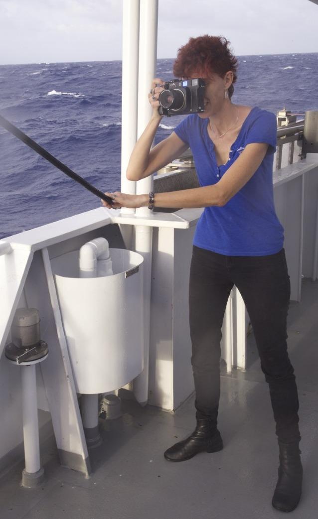 Artist Leslie Reed getting her sea legs.