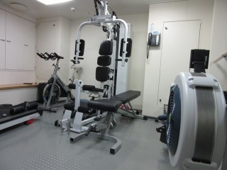 The exercise room. Something for everyone: treadmill, stationary bike, weights and more.