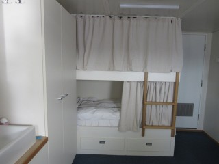Comfortable bunk rooms for the scientists, complete with comforters.