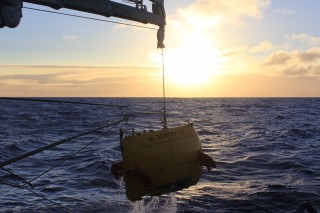 AUV Sentry being retrived from one of its busy missions.