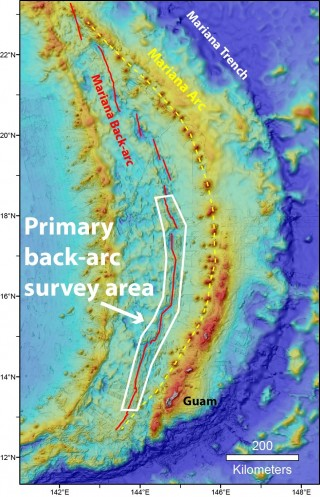 A map of the planned survey area for the Hydrothermal Hunt at Mariana expedition.