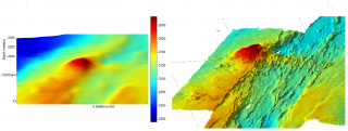 The image on the left shows a seafloor map made from a vessel, the image on the right shows a map made from an AUV. The AUV map has about 100 times higher resolution than the map made from the vessel, but it also took about 100 times as long to make!