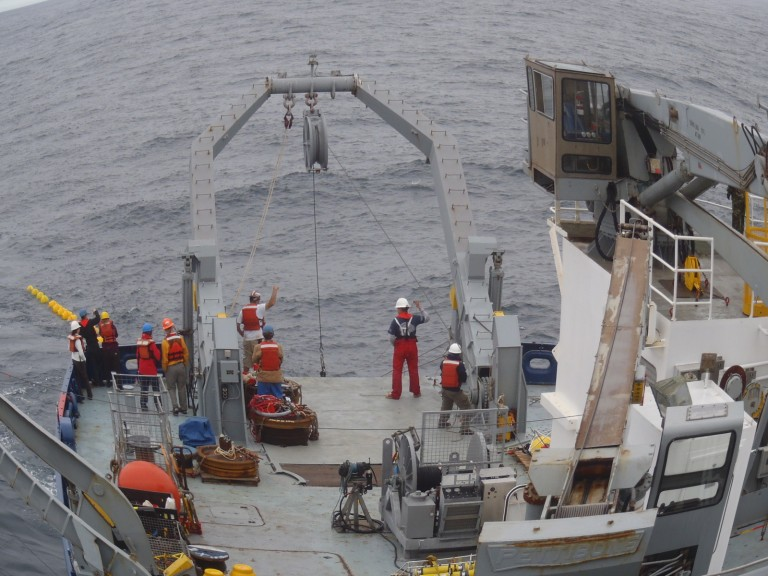 The Tasman team recovering a mooring during a previous expedition.