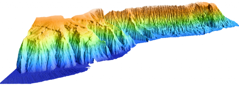 Perspective view of Campeche Escarpment generated with the multibeam data newly acquired by researchers onboard R/V Falkor.