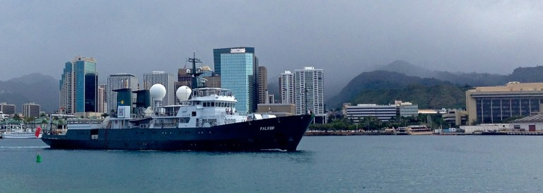 Falkor departing Honolulu for the second 36-day mapping expedition.