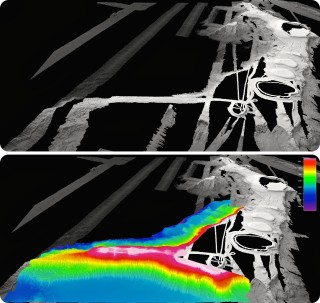 Comparision of previous multibeam coverage compiled over years (in gray shades) compared to the recently collected Falkor data overlain in color.