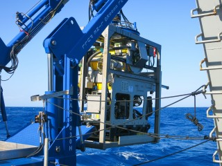ROV Comanche gets deployed for the first test dive at Perth Canyon.