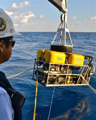 Toshi Mikagawi during this morning's first ROV launch.