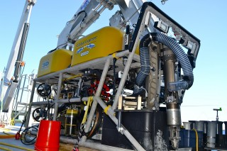The ROV on the deck, ready to dive.
