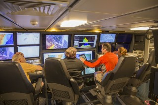 Team members receive data in the control room while gathering data on Northwest Rota, a submarine volcano 100 km north of Guam.
