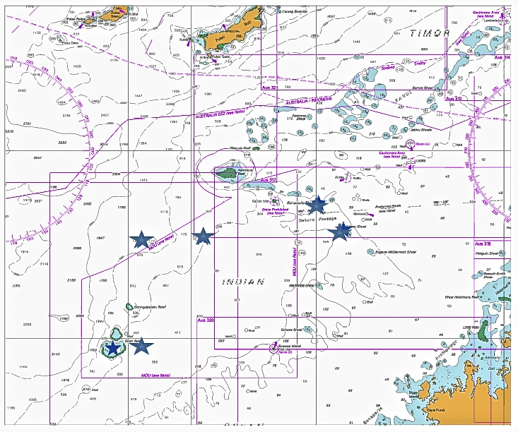A map of the region with blue stars marking planned study sites. Scott Reef is to the southwest, the deep, unexplored shoals are to the north, and the shallower shores are to the northeast.
