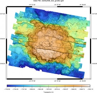 AUV Sentry's multibeam echo sounder map of the seafloor.