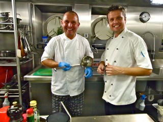Two much-loved chefs in the galley (head chef Grzegorz Kuberski, left, and chef Carlos Waihrich, right).