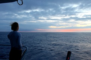 Shellie Habel taking in the dawn view from the upper observation deck.