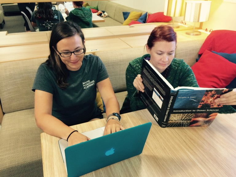Julianna and Jennifer read up on El Nino in preparation for the upcoming cruise.