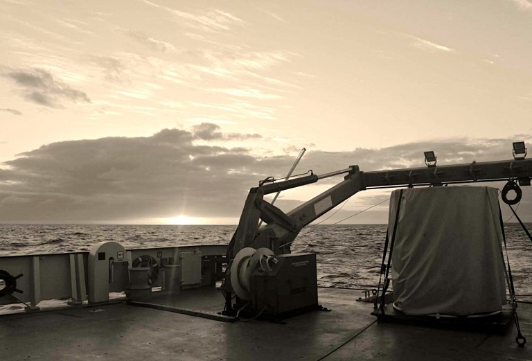 A view of the aft deck at sunrise.