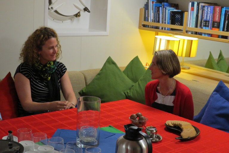Her Excellency Professor the Honourable Kate Warner, AM, Governor of Tasmania and Cheif Scientist Amy Waterhouse chat over tea during a tour of Falkor.