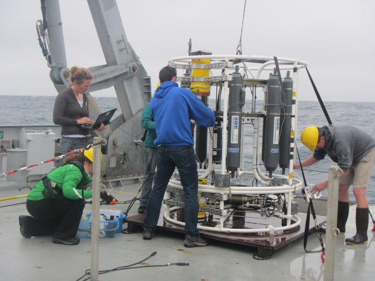 On-ship cooperation is as important as the collaborations between ships. Here members of Team T-Beam on Falkor (L. Rainville, A. Waterhouse, G. Pilo, and P. Strutton) work as a unit to collect samples, change Chi-pods, and re-prep the CTD in between casts.