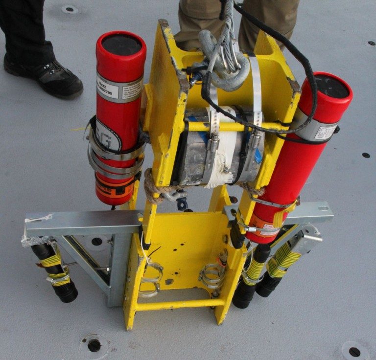 Simple High Resolution IMaging Package (or SHRIMP) with mounted high definition cameras and underwater flashlights ready for deployment on R/V Falkor aft working deck.