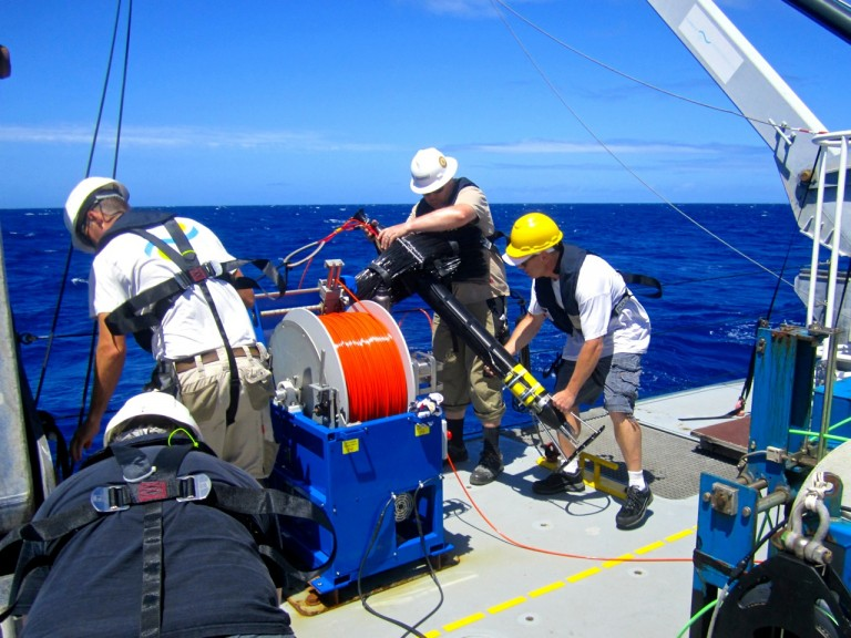 Glenn Carter and Falkor crew deploying the vertical microstructure profiler.