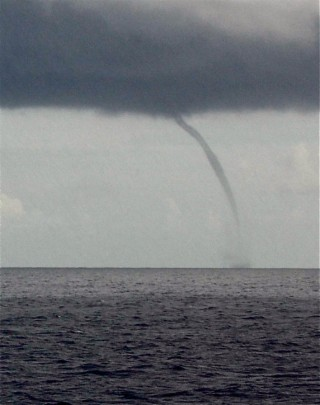 We got a distant view of a water spout.