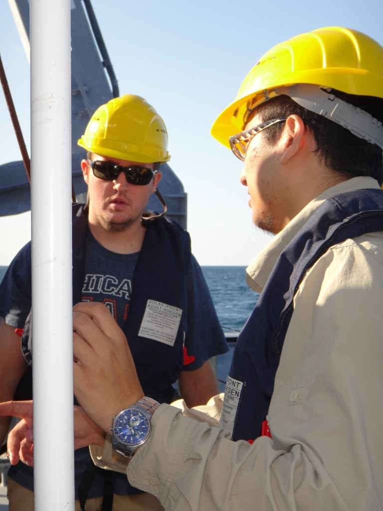 Before the launch Dr. Michael Wetz works with Masters of Science Student Ming Xue on the CTD.